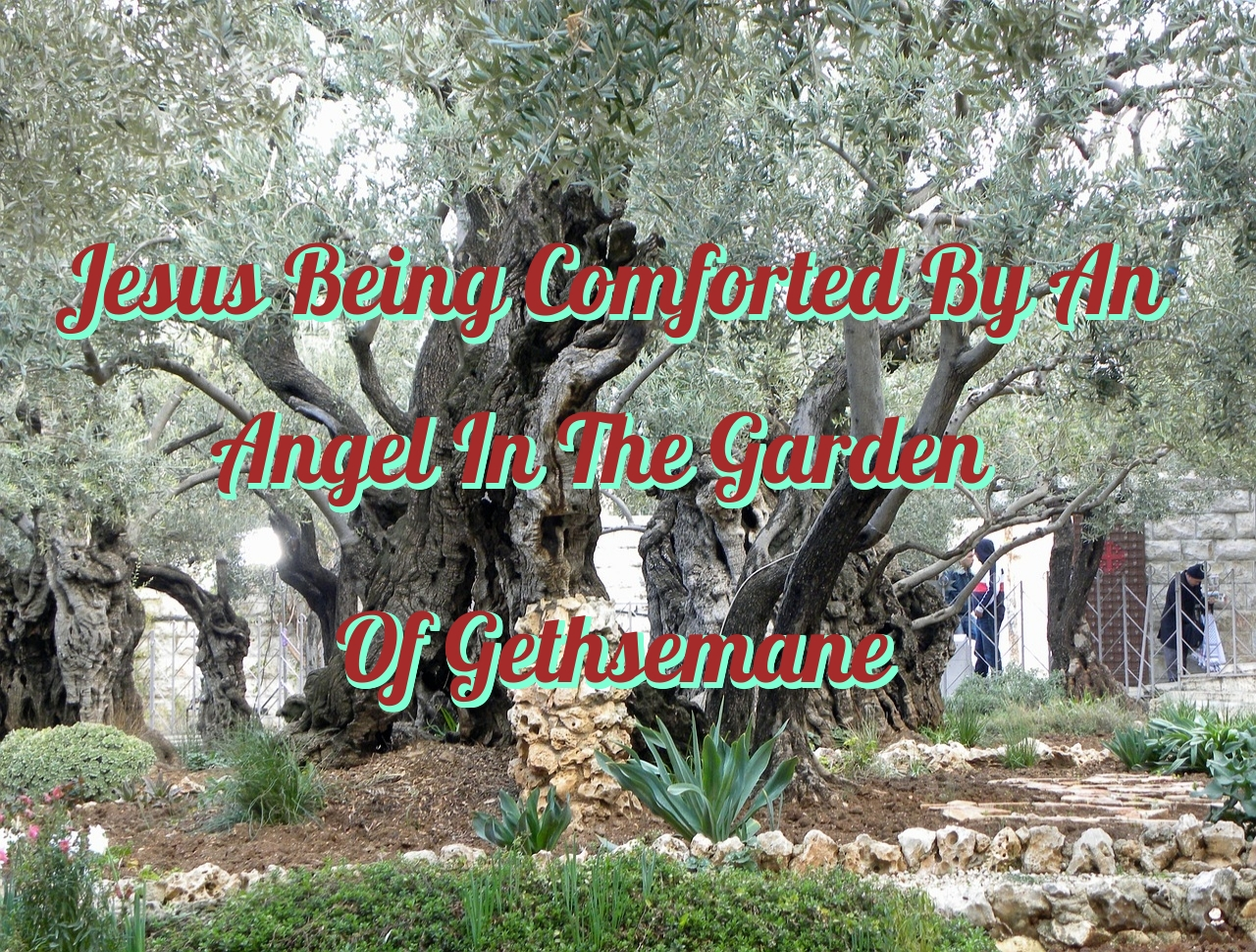 Jesus Being Comforted By An Angel In The Garden Of Gethsemane